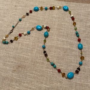 Turquoise pearl bead chain necklace long
